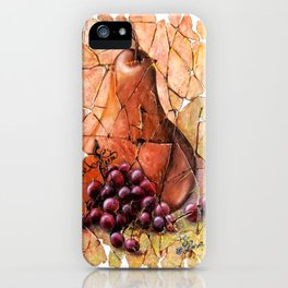 Pear and Grapes Fresco iPhone Case