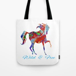 OLena Art Colorful Horse Design Wild and Free Tote Bag