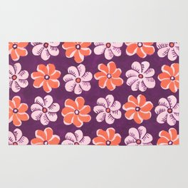 Floral design Orange & Purple Flowers print Rug