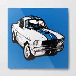 Graphic Mustang Vintage Car Print Metal Print