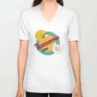 finn and jake V-neck T-shirts featuring The Jake & Finn Show. by Agu Luque