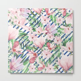 Modern blue white stripes blush pink green watercolor floral Metal Print