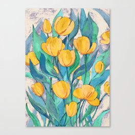 Blooming Golden Tulips in Gouache Canvas Print
