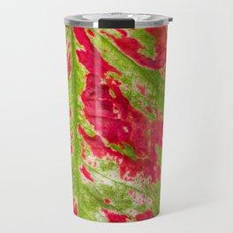 Florida Beauty Caladium Leaf Pattern Closeup Travel Mug
