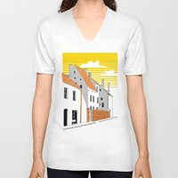 medieval V-neck T-shirts featuring Medieval houses by LaDa