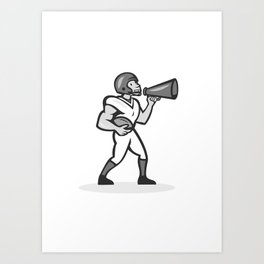 American Football With Bullhorn Grayscale Art Print