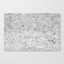 White Washed Brick Wall - Light White and Grey Wash Stone Brick Canvas Print