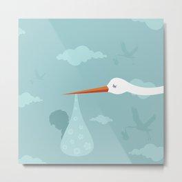 Stork and the kid Metal Print