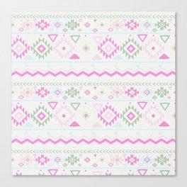 Blush Pink green geometrical aztec tribal Canvas Print