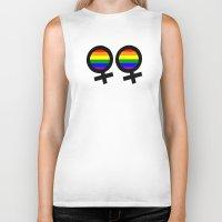 lesbian Biker Tanks featuring Lesbian Sign by Piensa Gay