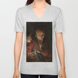 Old Woman and Boy with Candles - Peter Paul Rubens Unisex V-Neck
