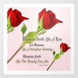 Red, Rose And pink With Quote Art Print
