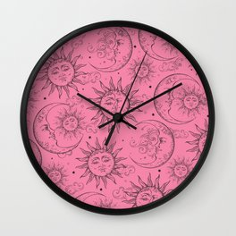 Pink Magic Celestial Sun Moon Stars Wall Clock