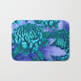 Blue chrysanthemum Bath Mat