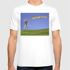 Freedom - A young girl jumping with a colorful kite banner on a clear blue sky day White Mens Fitted Tee MEDIUM