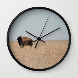 Lone Prairie Bison Wall Clock