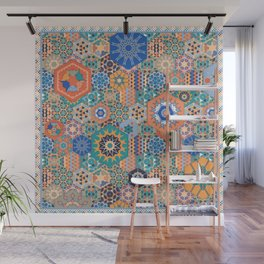 Hexagons Tiles (Colorful) Wall Mural