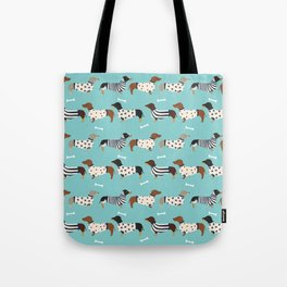 Dachshund sweaters cute gifts for dog lover pet friendly dog breed dachsie doxie dogs Tote Bag
