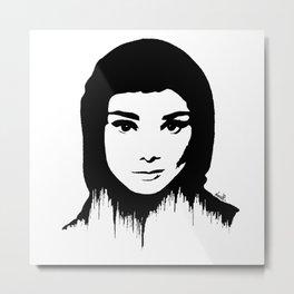 Audrey Hepburn art design ( black and white)  Metal Print