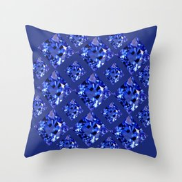 FACETED BLUE ON BLUE SAPPHIRE GEMSTONES Throw Pillow