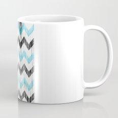 Grunge Chevron black/white/cyan Mug