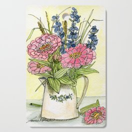 Pink Zinnias in Pitcher Watercolor Cutting Board