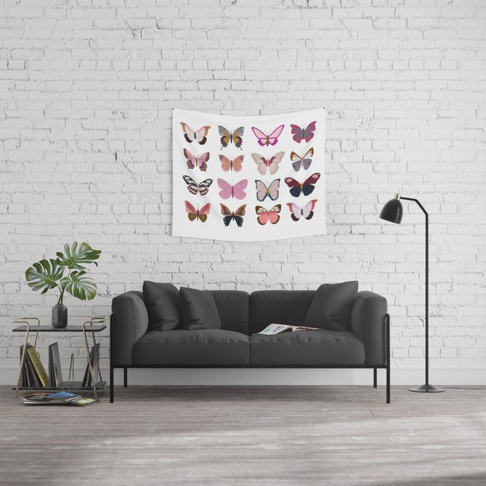 Pink Butterflies Wall Tapestry