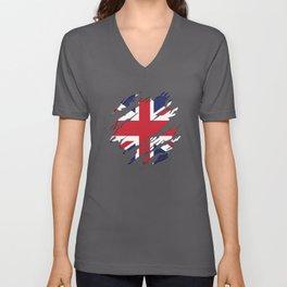 Great Britain Flag United Kingdom Gift Unisex V-Neck