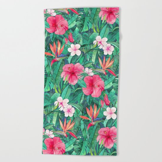 Classic Tropical Garden with Pink Flowers Beach Towel
