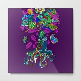 Psychedelic Paisley Tree on Plum Metal Print