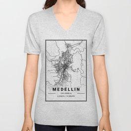 Medellin Light City Map Unisex V-Neck