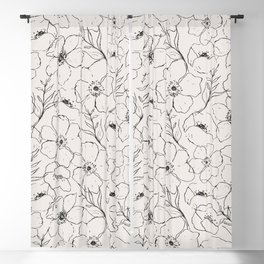 Floral Simplicity - Neutral Black Blackout Curtain