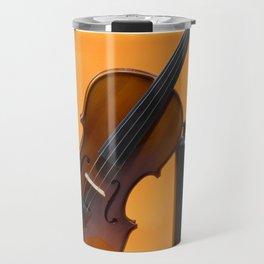 Still-life with a violin and a dark bottle Travel Mug