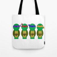 teenage mutant ninja turtles Tote Bags featuring Teenage Mutant Ninja Turtles by Jen Talley