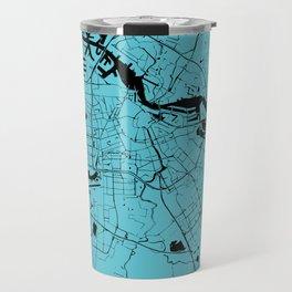 Amsterdam Turquoise on Black Street Map Travel Mug