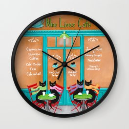 The Nine Lives Cat Cafe Wall Clock
