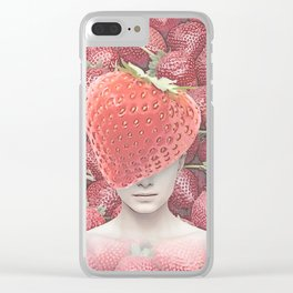 Strawberry head collage Clear iPhone Case