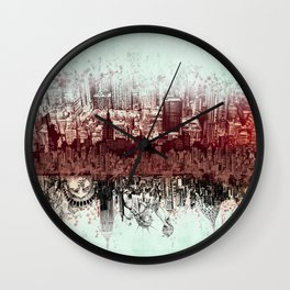 New York skyline drawing collage 3 Wall Clock