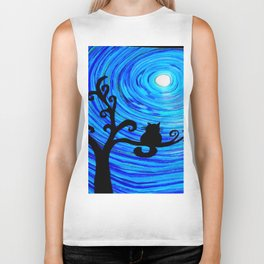 The cat and the moon Biker Tank
