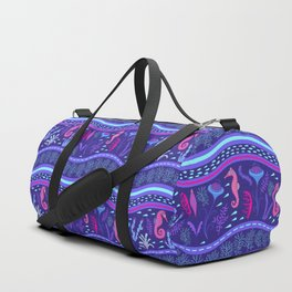 Purple wavy sea pattern with sea horses and algae. Duffle Bag