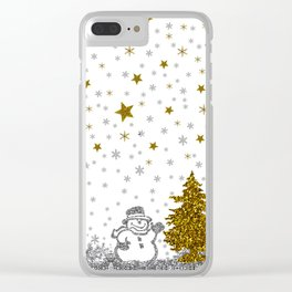 Beautiful glitter New Year on white Clear iPhone Case