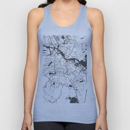 Amsterdam White on Gray Street Map Unisex Tank Top
