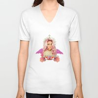 wes anderson V-neck T-shirts featuring KAWAII GLITTER PAMELA ANDERSON by whateverlulu