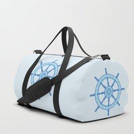 AFE Ship Wheel Light Blue, Nautical Art Print Duffle Bag