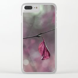 Raspberry Pink Leaf and Raindrops Clear iPhone Case