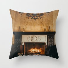 Cozy Fireplace Throw Pillow