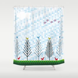 Treetop Birds Shower Curtain