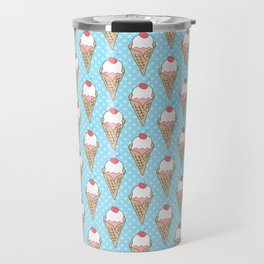 Doodle ice cream pattern on a blue background Travel Mug
