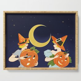 Vintage Halloween Costume Party Pumpkin Carving Serving Tray