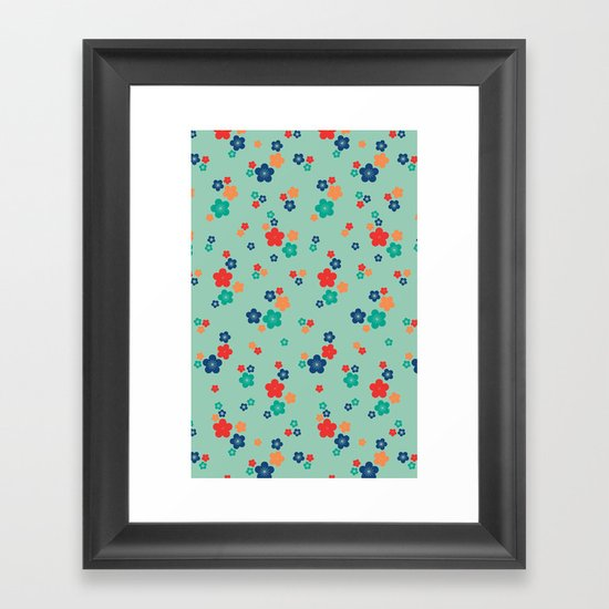 blossom ditsy in grayed jade Framed Art Print